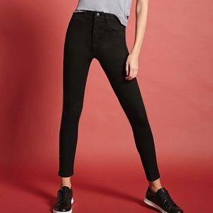 NWT Forever 21 Black Skinny Jeans High Waist Rise